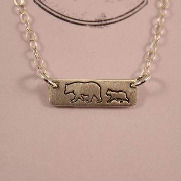 Mama Bear & 1 Cub Necklace - Sterling Silver - ready to ship