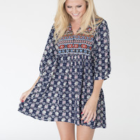 Navy Flowered Baby Doll Dress
