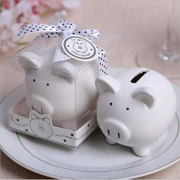 1pcs Lovely ceramics Pig piggy bank + gift box Baby shower Wedding Favors Gifts kids gift pig money box
