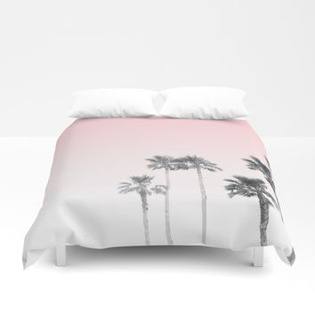 Tranquillity - pink sky Duvet Cover by Gale Switzer