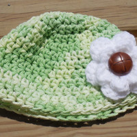 Baby Crochet Hat, 0-3 month Size, Crochet Cotton Variegated Green Baby Hat, Infant Crochet Hat, Crochet Beanie, Crochet Flower Accents