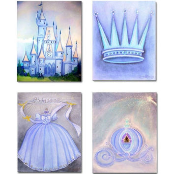 Baby Girl Nursery Princess Room Wall Decor SET OF 4 Art Prints, Kids Art Decor, Kids Baby Decor, Kids Nursery Wall Art, Blue Girl Nursery