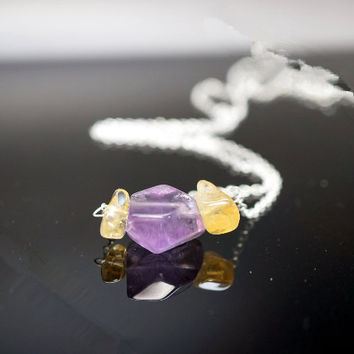 Amethyst Necklace - Sterling Silver Rough Amethyst Nugget Necklace
