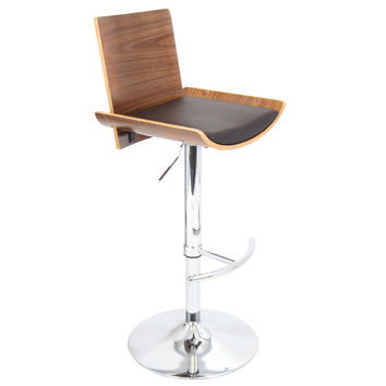 Vittorio Bar Stool  Walnut + Brown Matte Pu