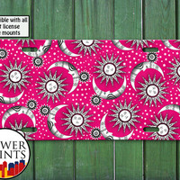 Hot Pink Sun Stars And Moon Pattern Space Cute Design For Front License Plate Car Tag One Size Fits All Vehicle Custom