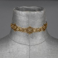 TORMENT. Filigree Shield Choker - Gold – REGALROSE