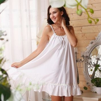 RenYvtil 2017 Sleep Lounge Women Sleepwear Cotton Nightgowns Sexy Indoor Clothing Home Dress White Pink Chemise Nightdress