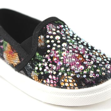 Toddler Girls Zula Floral Lace Slip On Canvas Studded Shoes FHX-08I Black