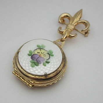 Vintage 1950s Signed Coro Pegasus Guilloche Enamel Fleur de Lis Floral Locket Brooch Pin - Handpainted Pansy Flower Gold Tone Etching
