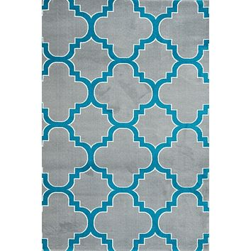 4158 Gray Turquoise Moroccan Lattice Area Rugs