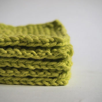 hand knit bright lime green face scrubbies, set of 5