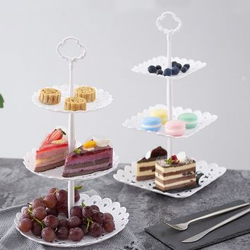 FEOOWV 2PCS 3 Tier Square Cupcake Stand Cake Wedding Stand Fruits Desserts Candy Tray