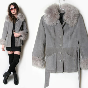 70s Shearling Collar Penny Lane Coat - 70s Penny Lane Jacket - Almost Famous - 70s Leather Jacket - 70s Suede Shearling Jacket - Fur Collar