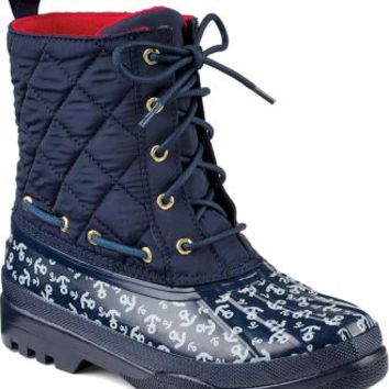Sperry Top-Sider Gosling Quilted Duck Boot Navy/Anchors, Size 5M  Women's Shoes