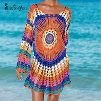 Hand Made Crochet Cover up Colorful Tunic for Beach Sexy Bikini cover up Sarong Beachwear Pareo Beach Bathing Suit Cover ups