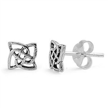 Sterling Silver Square Celtic Studs Earrings