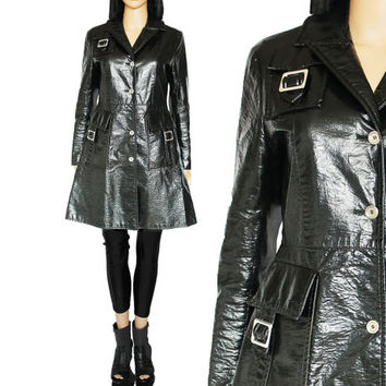 90s French Rubber Raincoat Vintage Shiny Black Trench Coat Minimalist Goth Wet Look Fit and Flare Clothing Outerwear Women's Size Medium