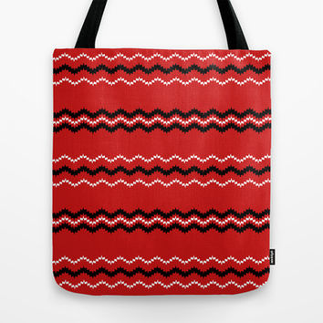 Artistic black white stripes on red Tote Bag by cycreation