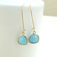 Blue Stone Earrings, Crystal Earrings, Turquoise Earrings, Zircon Earrings, drop earrings.