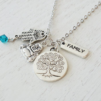 family tree of life necklace,hamsa hand jewelry,zen yoga jewelry,buddhism,christmas,friendship sister gift,protection,bohemian,long necklace