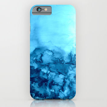 INTO ETERNITY, TURQUOISE Colorful Aqua Blue Watercolor Painting Abstract Art Floral Landscape Nature iPhone & iPod Case by EbiEmporium