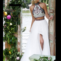 Halter Beaded Crop Top Sherri Hill Formal Prom Gown 50075
