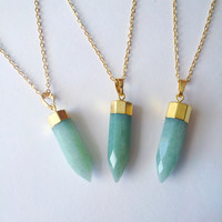 Jaded Green Faceted Stone Necklace