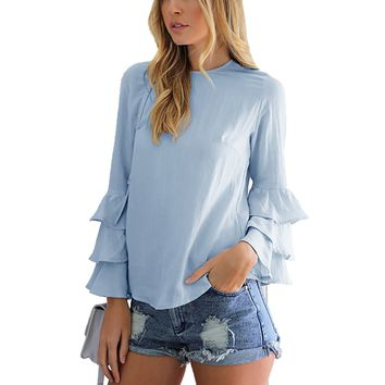 Calflint Women's Multi Layered Tiered Pleated Ruffled Long Bell Sleeve Blouse