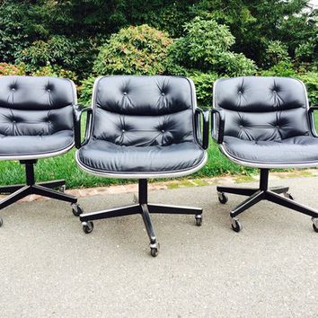 3 Knoll Pollock Black Leather Office Chairs