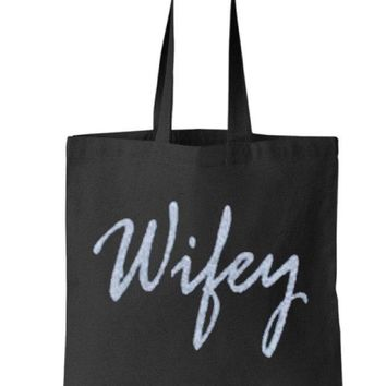Silver Gold or your choice Glitter Wifey Black Tote Bag - Bride to Be, Newlywed, Bridal, Wedding, Shower, Bachelorette Party Gift