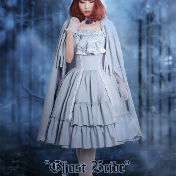 """Ghost Bride"": Gothic Classic Lolita Lace Fringe Hoodie Cotton Mantle"