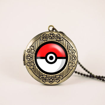 Pokemon pokeball pikachu anime nintendo vintage pendant locket necklace - ready for gifting - buy 3 get 4th one free