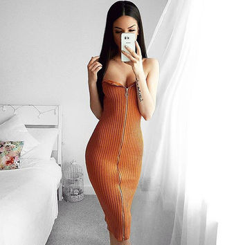 2016 Women Autumn Winter Strapless Black Slim Bodycon Sexy Knitted Dress With Zipper Knee Length Party Dress Fall Robe