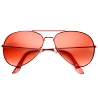Classic Metal Tearddrop Bright Color Aviator Sunglasses w/ Spring Hinges