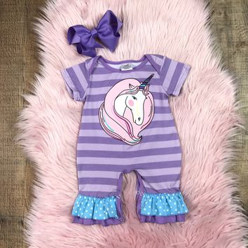 RTS Baby Girls Purple Striped Unicorn Romper D12