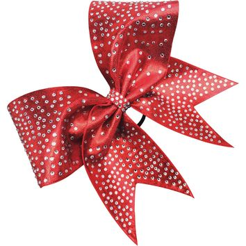 Mystique fabric bow with rhinestones . Available in any color.