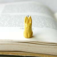 Miniature Rabbit Porcelain Charm - Light Yellow OOAK - Ready to Ship
