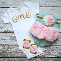 Baby Girl Baby Girl 1st Birthday Outfit Cake Smash Photography Props Gold One Onesuit Pink Bloomers Barefoot Sandals Pink Gold White