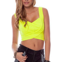 Heartly Ponti Tank Top in Neon Yellow :: tobi