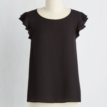 Film Noir Mid-length Cap Sleeves Coquettish Cornerstone Top
