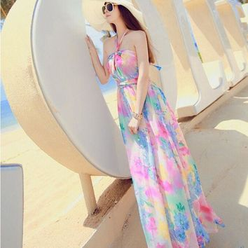 CREYUG3 2015 New Halter strapless chiffon dress bohemian dress seaside resort beach dress