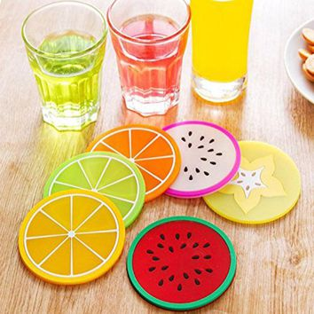 6pcs/set Colorful Drink Holder Jelly Color Fruit Shape Coasters Nonslip Place Mat Pads Cup Cushion Minions Tea Cup Placemat