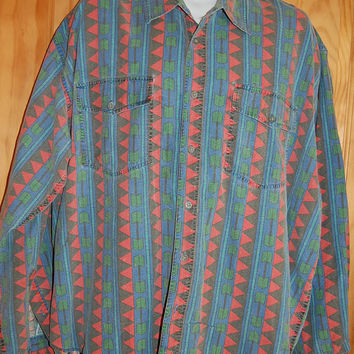 Vintage 80s 90s Mens Tribal Aztec Southwest Print Faded Broken In Oversize Shirt Size XL XXL