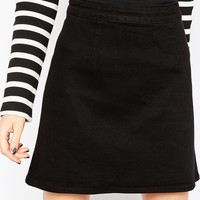 ASOS PETITE Denim A-Line Mini Skirt in Black