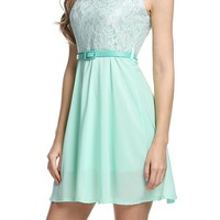 Women's A-Line Sleeveless Lace Cocktail Party Prom Dresses With Belt