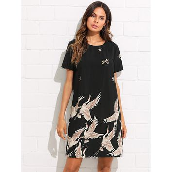 Flamingo Print Tunic Dress Black