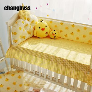 Cute Cartoon Chick Printing Infant Bedding Set, New Baby Girl And Boy Crib Bedding Comforter Sheets Sets Linge De Lit Bebe