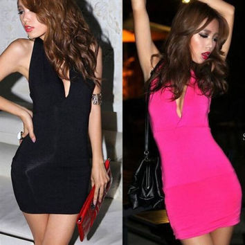 Women's Summer Bodycon Cocktail Deep V  Bandage Backless Solid Dress
