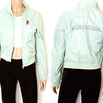 Mint Green Vespa Bomber Jacket Logo Apple Windbreaker M Unisex Pastel SALE 50% off