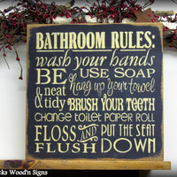 "Wooden Sign / Bathroom Rules 12"" x 12"" Sign / Wash your hands / Bathroom wall hanging"